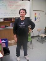 Centennial teacher Peg Miller wore a marathon shirt on Tuesday to show support for Boston.